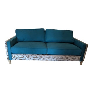 Turquoise Chenille & Velvet Sofa For Sale