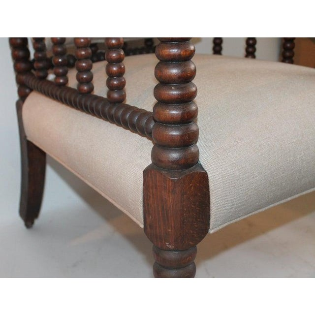 19th Century Barley Twist Spool Chair in Natural Linen For Sale In Los Angeles - Image 6 of 7