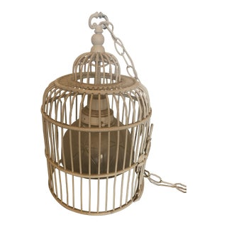 Rattan Hanging Bird Cage Lamp 60s Hollywood Regency Mid Century Chinoiserie For Sale