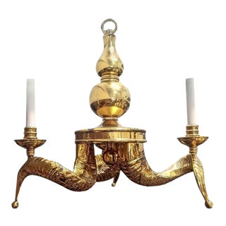 Vintage Solid Brass Ram Horn Chandelier For Sale