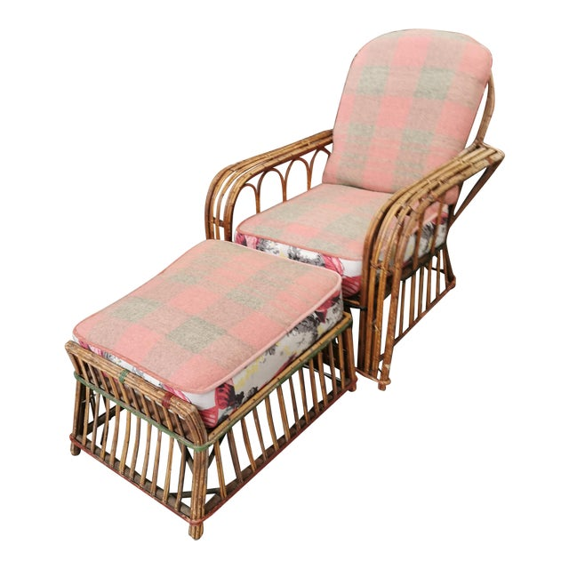 Art Deco Reeded Rattan Lounge Chair and Ottoman For Sale