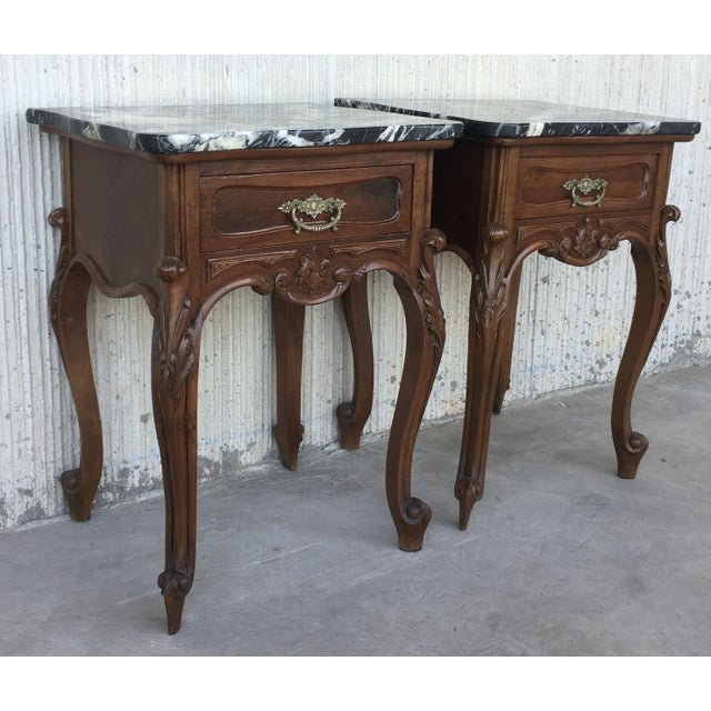 About 19th century pair of Louis XV carved nightstand with one drawer and marble top. Details PRODUCTION TIME Available...