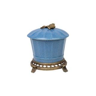 Blue Crackle Porcelain Round Jar For Sale