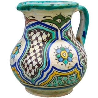 Polychrome Andalusian Ceramic Pitcher For Sale