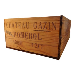 Vintage Wood 1969 Bordeaux Wine Box Crate For Sale