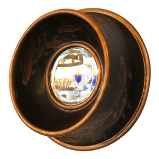 Painted Fish Round Mirror For Sale