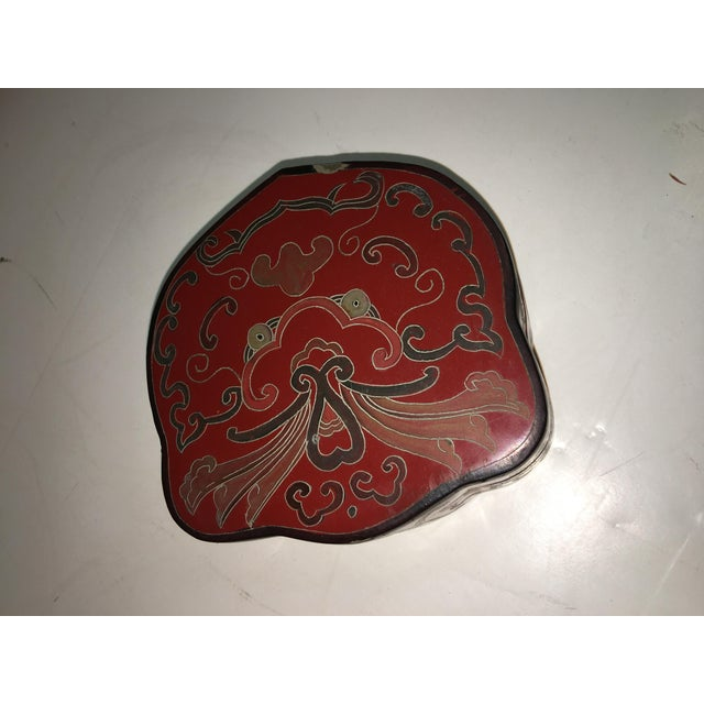 Vintage Shields Shaped Chinese Red Lacquer Box For Sale - Image 5 of 6