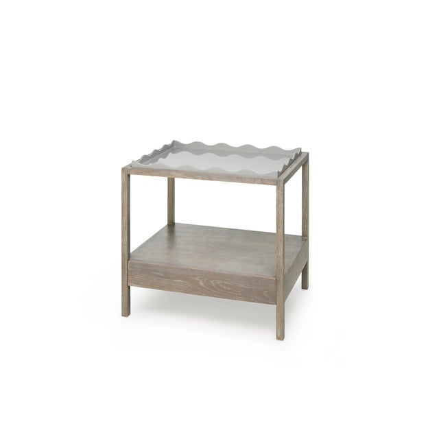 Belles Rives Nightstand in Pale Grey / Cerused Oak - Rita Konig for The Lacquer Company For Sale - Image 4 of 4