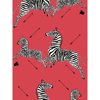 Sample, Scalamandre Zebras, Masai Red Wallpaper For Sale