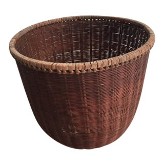 1930s Vintage Handmade Wicker Basket For Sale