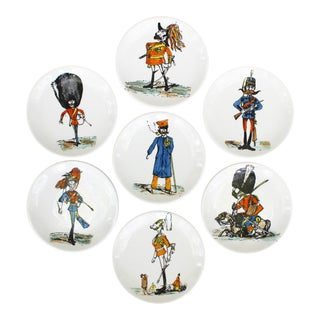 1960s Soldier Caricature Porcelain Coasters by Piero Fornasetti for Bucciarelli - Set of 7 For Sale