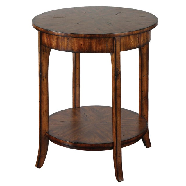 Traditional Style Round Lamp Table For Sale