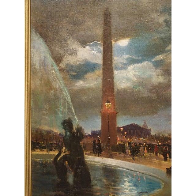 """French """"Evening at La Place De La Concorde, Paris"""" Painting by Paul Balmigere (1882-1953) For Sale - Image 3 of 13"""