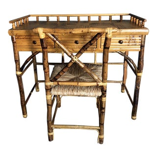 Boho Chic Kenian Tortoise Bamboo Writing Desk and Seat - 2 Pieces For Sale