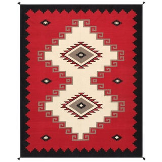 Navajo Style Wool Area Rug - 8′ × 9′11″ For Sale