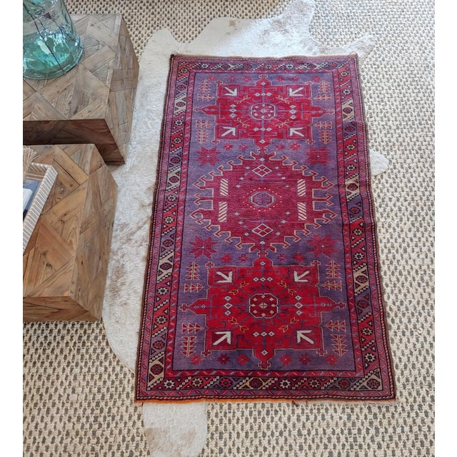 1960s Mid Century Pink and Purple Heriz Rug For Sale - Image 5 of 13
