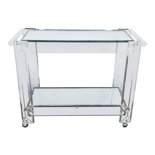 1970s Mid-Century Modern Lucite Mirrored Glass 2-Tier Bar Cart or Trolley For Sale