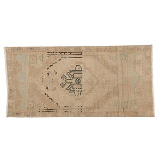 """Vintage Distressed Oushak Rug Mat Runner - 1'9"""" X 3'8"""" For Sale"""
