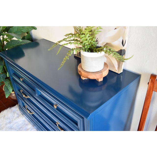 Late 19th Century Vintage Blue Glossy Dresser For Sale - Image 5 of 10