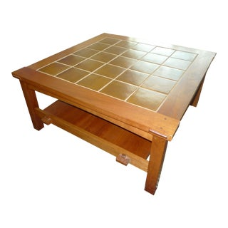 Mission Stickley Cherry Tile-Top Coffee/Cocktail Table For Sale