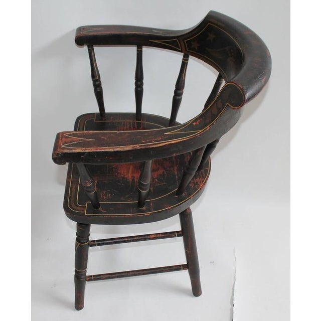 Mid 19th Century 19th Century Original Paint Decorated Captains Chair with  Eagle and Stars For Sale - World-Class 19th Century Original Paint Decorated Captains Chair