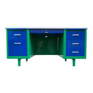 McDowell Craig Mid Century Tanker Desk Refinished in Bauhaus Colors, in Stock and Ready to Ship For Sale