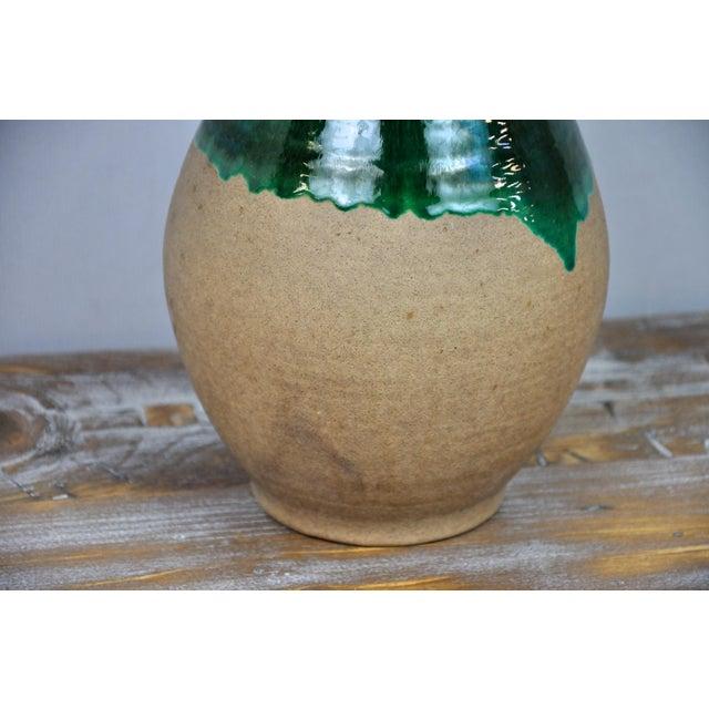 Vintage West Germany Handmade Ceramic Vase With Green Glazed Detail For Sale - Image 11 of 13