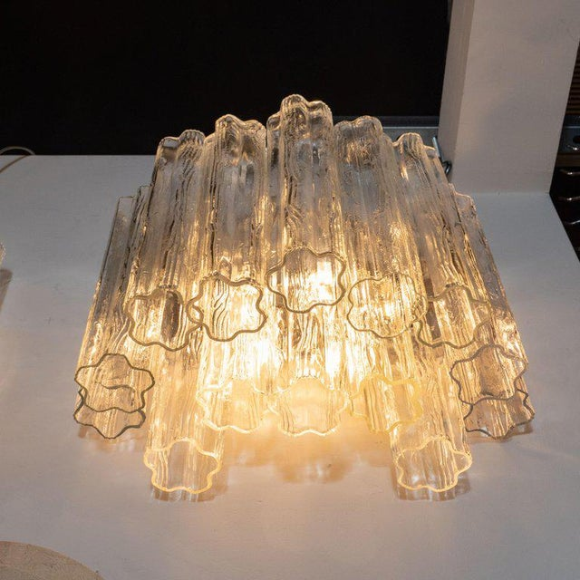 Mid-Century Staggered Translucent Glass Tronchi Sconces With Nickel Fittings - a Pair For Sale - Image 4 of 6
