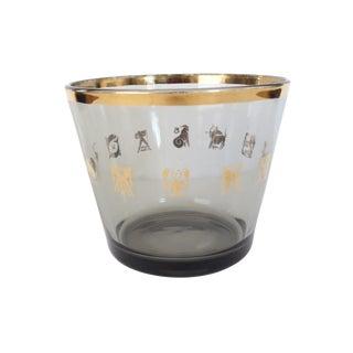 Vintage Black Smoke Metallic Gold Glass Zodiac Sign Ice Bucket Mid Century Barware For Sale
