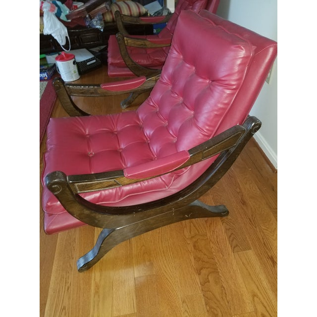 Vintage Mid-Century Modern Tufted Sling Chairs (A Pair) For Sale - Image 4 of 9