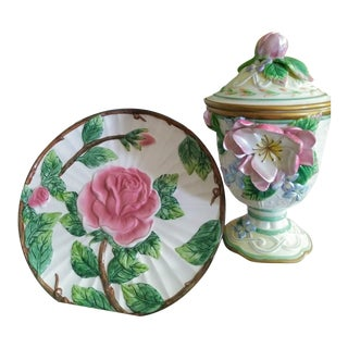 2 Piece Fitz and Floyd Rose Ginger Jar and Rose Decorative Plate For Sale