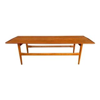 Mid Century Danish Modern Teak Coffee Table For Sale