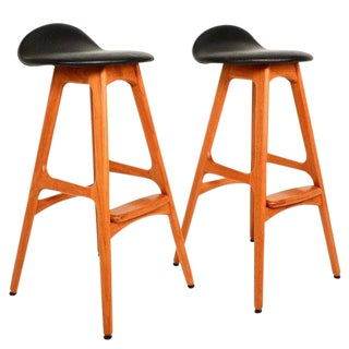 Danish Mid-Century Modern Erik Buck Teak Bar Stools For Sale