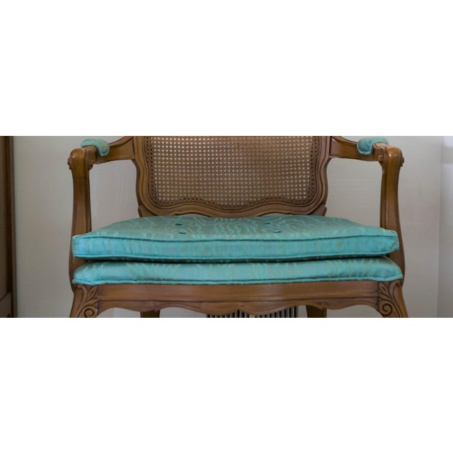 Vintage cain back chair, beautiful turquoise raw silk fabric. Excellent condition barely used. It will be a gorgeous...