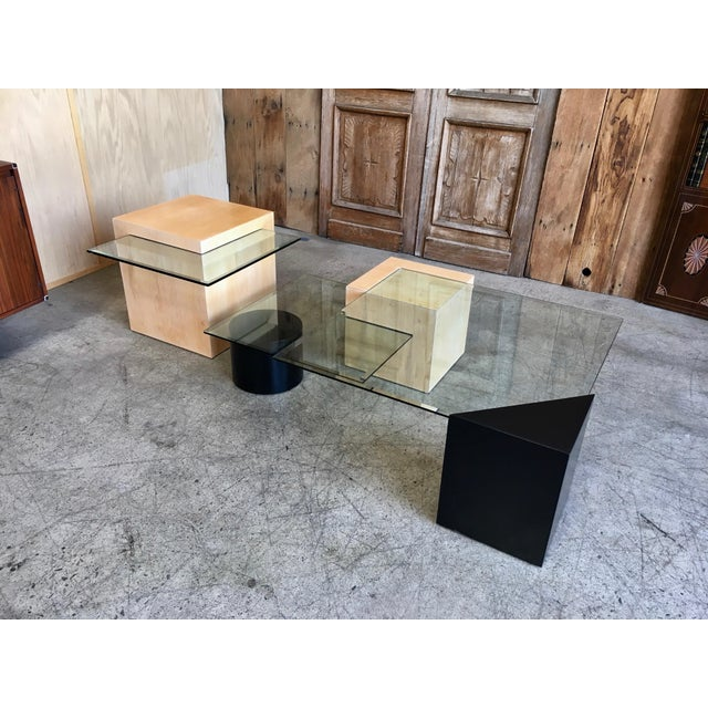 Modern Late 20th Century Modern Geometric Wood and Glass Multi-Level Coffee Table For Sale - Image 3 of 8