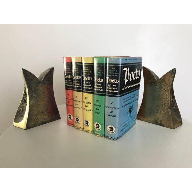 Gold Modernist Brass Sculptural Bookends by Ben Seibel for Jenfredware, Raymor, Pair For Sale - Image 8 of 12
