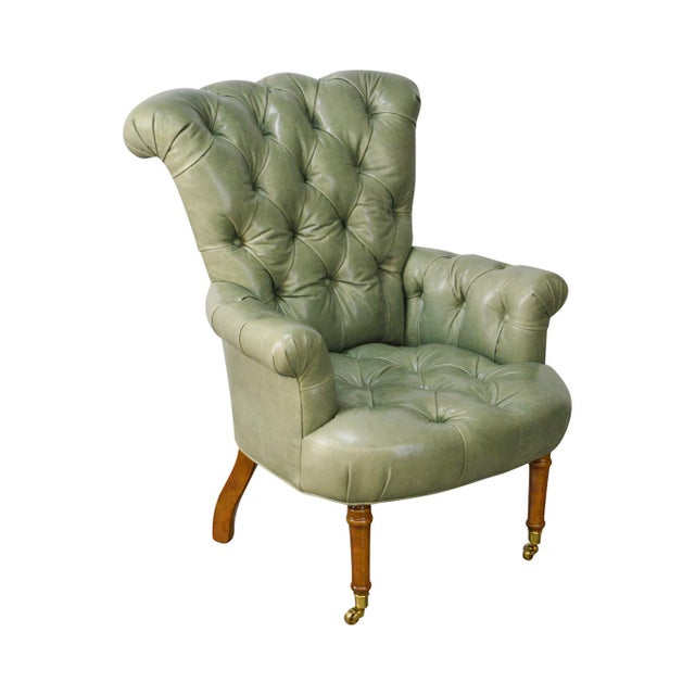 Regency Style Custom Quality Green Leather Tufted Library Wing Chair For Sale - Image 13 of 13
