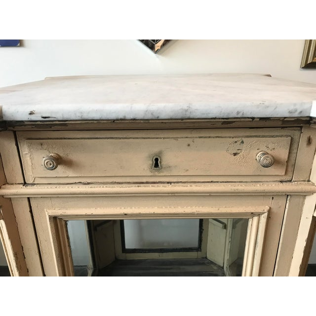 19th Century French Marble Topped Glass Cabinet For Sale In Seattle - Image 6 of 12