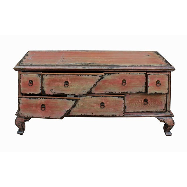 Chinese Pink Distressed Cabinet For Sale In San Francisco - Image 6 of 9