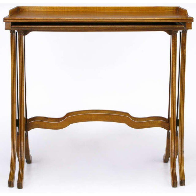 Walnut Baker Art Nouveau Style Burled Walnut Nesting Tables For Sale - Image 7 of 10