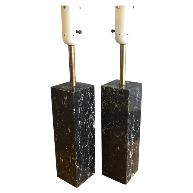 Mid Century Modern Marble Lamps by Nessen - a Pair - Image 1 of 7