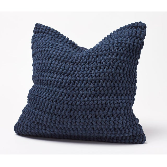 Coyuchi Indigo Woven Rope Organic Pillow Cover For Sale In Boston - Image 6 of 6