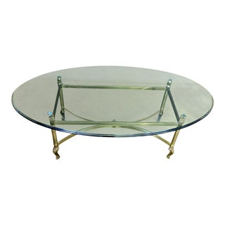 La Barge Hollywood Regency Brass & Clear Glass Coffee Table For Sale