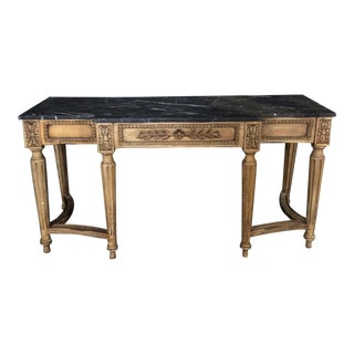 French Louis XVI Style Console Table With Marble Top For Sale