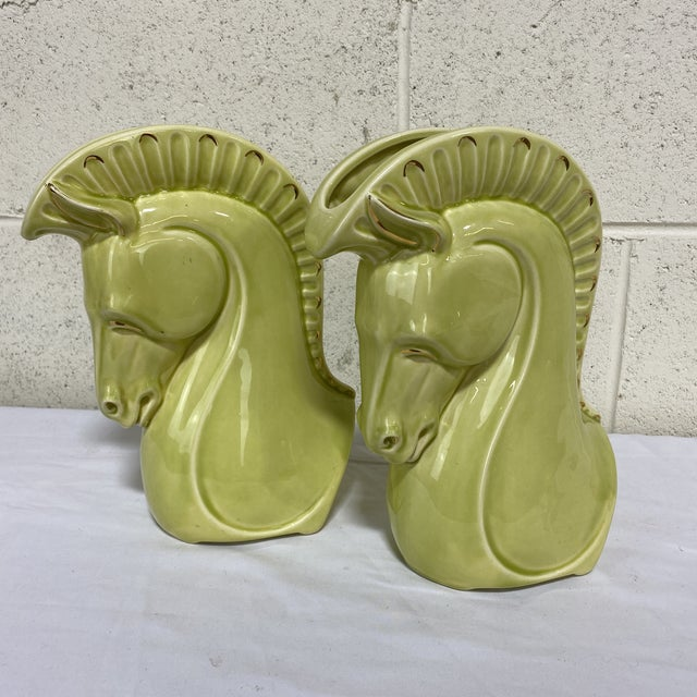 Chartreuse Chartreuse Ceramic Trojan Horse Head Vases - a Pair For Sale - Image 8 of 12