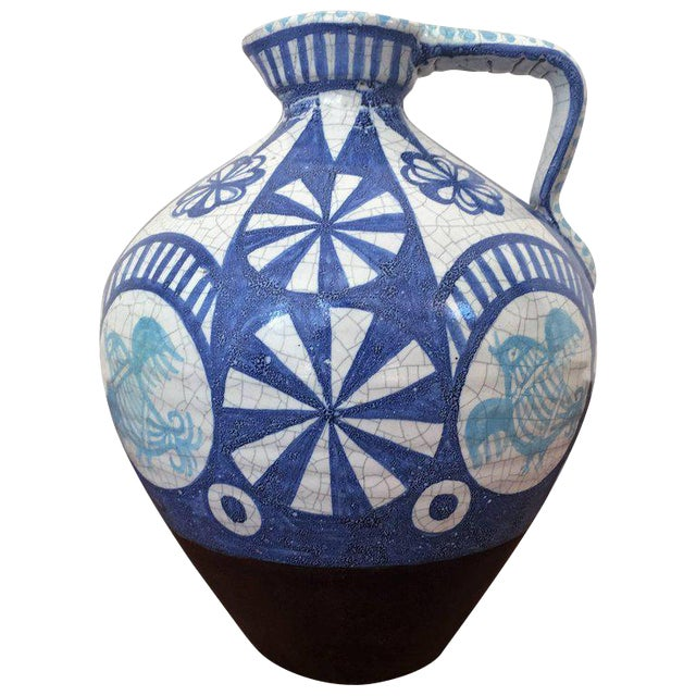 19th Century Glazed Pitcher in Blues and White - Image 1 of 7