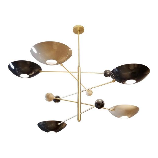 """""""Catalonia"""" Chandelier in Enamel & Brass by Blueprint Lighting For Sale"""
