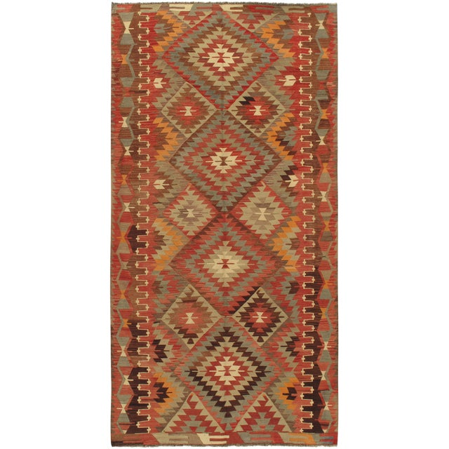 "Vintage Turkish Kilim Rug 5'2"" X 10'2"" For Sale"
