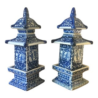 Chinese Blue & White Pagoda Jars - a Pair For Sale