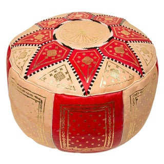 Red Traditional Moroccan Pouf For Sale